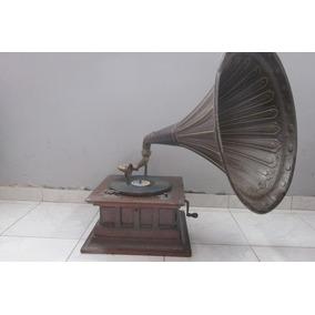 Antigua Victrola Gramonofono Fonografo Trompeta Bronce Vea