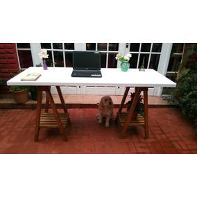 Mesa Con Cabelletes Escritorio Nordico 120x60cm Laqueadas