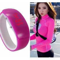 Relógio Pulso Digital Pulseira Bracelete Rosa E Preto Unisex