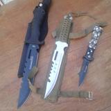 Cuchillo De Caza + Navaja Automática + Cuchillo Paracoord