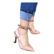 Scarpin Sapato Nude Chanel Salto Alto Taça Sola Vermelha 9cm