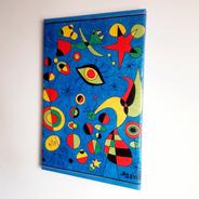 Cuadro Lona Peces De Colores Réplica Miró 40x60cm