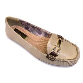 Sapato Feminino Mocassim Ramarim Total Confort Couro Amêndoa