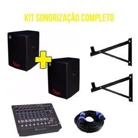 Kit Caixa Ativa +passiva Leacs 480w Mesa De Som Suporte Cabo