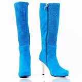 Botas Bottier Mujer Cuero, Modelo Caña Larga Azul Turqueza