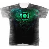 Camisa Camiseta Blusa Manga Curta Lanterna Verde Traje Heroi