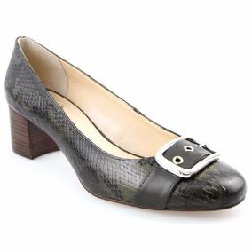 Sapato Feminino Scarpin Em Anaconda Militar Detalhes Dourado