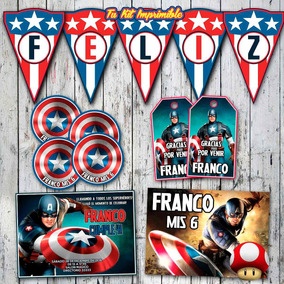 Kit Capitan America Invitaciones Stickers Banderín Tarjetita