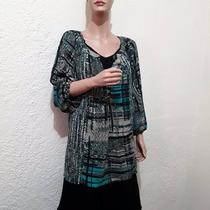 Blusa Gasa Color Negro Verde Gris Marca Kim Rogers Talla 3x