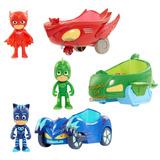 Pj Masks Figura + Vehiculo Gekko Owlette Catboy Original