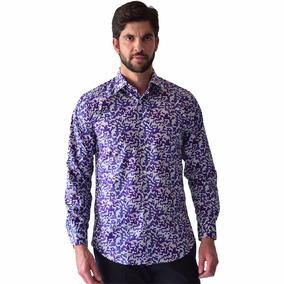 Camisa Hombre Casual Manga Larga Morado Rack & Pack Algodon