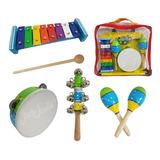 Set De Percusión Niños Banda Ritmica 4 Instrumentos Escuela
