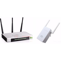 Roteador Wifi 300mbps 3 Antenas+ Repetidor Wifi 750mbs 2.4gh