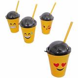 Kit 10 Copo De Plástico Emoticons Emoji Tampa E Canudo