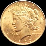 Mg* Estados Unidos 1922 1 Dólar Plata Baño Oro 26 Gr