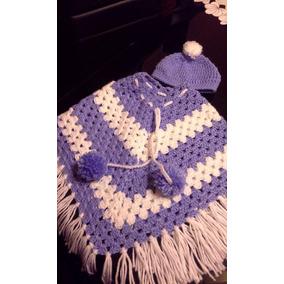 Poncho De Niño En Crochet Con Gorrita