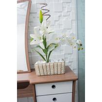 Vaso Floreira Em Pedraria Com Arranjo Orquídea E Lirio