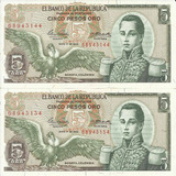 Colombia Dúo Números Consecutivos, 5 Pesos 1 Mayo 1963