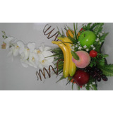 Arranjo De Flores Artificias Fruta Com Vaso De Vidro