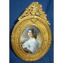 Porta Retrato En Bronce Perfecto Estado Antiguo.