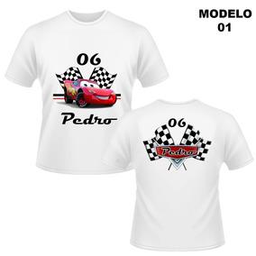 Camiseta Infantil Carros Cars Personalizada Mcqueen Nome 2858e9f780d