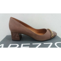 Sapato Feminino Arezzo Salto Baixo Nobuck Neutro