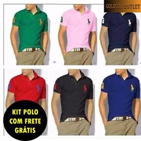 Kit 5 Camisetas Gola Polo Masculina Grandes Marcas Atacado