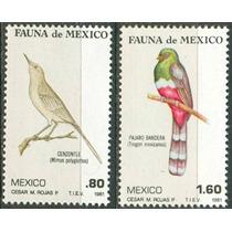 Sc 1234, 1236 Año 1981 Fauna De Mexico Cenzontle Y Pajaro Ba