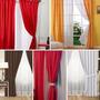 Cortinas Doble Tela Madras + Voile 4 Paños Habitacion Living