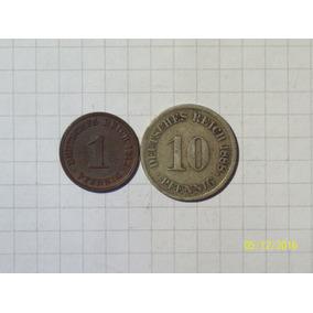 Alemania Segundo Reich 1 Y 10 Pfennig 1912-1888