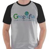 Camiseta Geografia Graduação Curso Aula Camisa Blusa Raglan