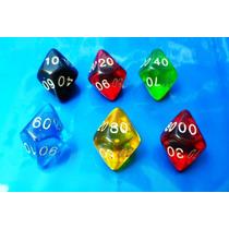 Dados De Rpg, Kit Com 6 D100 Peças Coloridas
