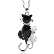 Collar Dama Gato Negro Brillantes Cristal