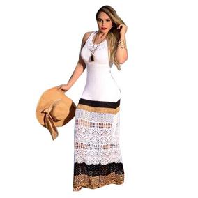 Vestido Longo Listras Tricot Tricô Crochê Festa Fim De Ano