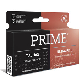 Preservativos Prime 2 En 1 Ultra Fino Y Tachas X144 Unidades