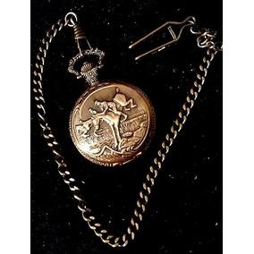 Silant Reloj De Bolsillo+cadena Cobre Antiguo Salto Caballos