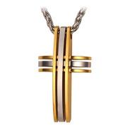 Colar Masculino Cordão Cruz Crucifixo Aço Inox + Banho Ouro