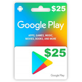 Google Play Gift Card 25 Us Tarjeta, Al Instante !!