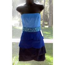 Vestido Americano Pedreria Fiesta Matrimonio Azul 3 Xs Stock