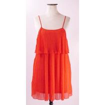 Divino Vestido Miss Me Naranja Fluo-plisado Soleil-impecable