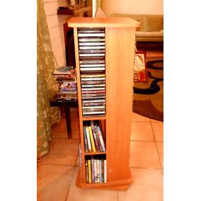 Mueble-torre De Madera Rotatorio Porta Cds Y Dvds De 4 Lados