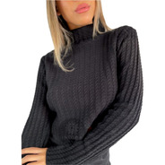 Sweater Mujer Polera Trenza
