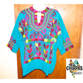 Exclusiva Blusa De Chiapas Bordada A Mano / Talla Xl / Manta