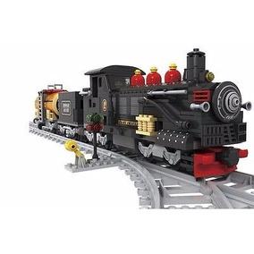 Blocos Montar Trem Maria Fumaça Com Vagões 586 Peças