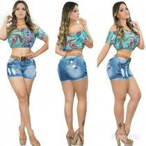 Short Feminino Jeans Escuro Marca Valentin Lojas Bh Oferta