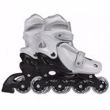 Kit Com 02 Pares Patins Roller Row Cinza Regulável 31 A 34