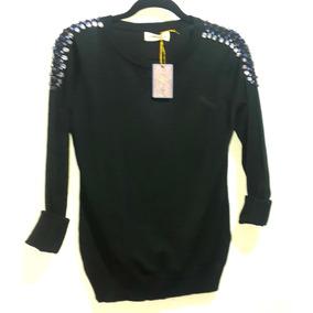 Sweater Negro Hombros Bordados Con Piedra