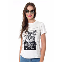 Playera Estampado Gatos Pompones