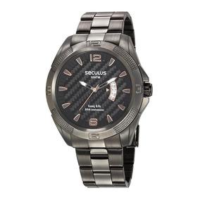 1854fd98f49 Relógio Seculus Long Life Dourado Calendário 20137gpsbda1 - Relógios ...