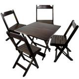 Jogos De Mesa Bar 70x70 C/ 4 Cadeiras Dobravel Em Madeira